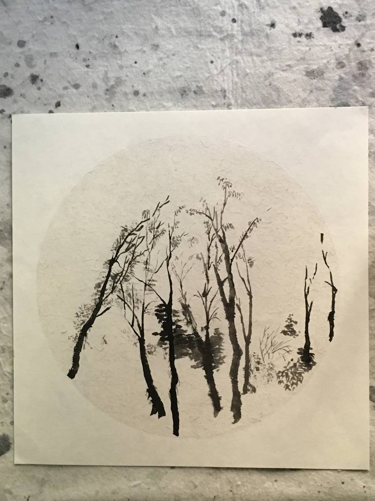 770x1027 Saatchi Art Bare Trees Drawing By Mark Evan Segal