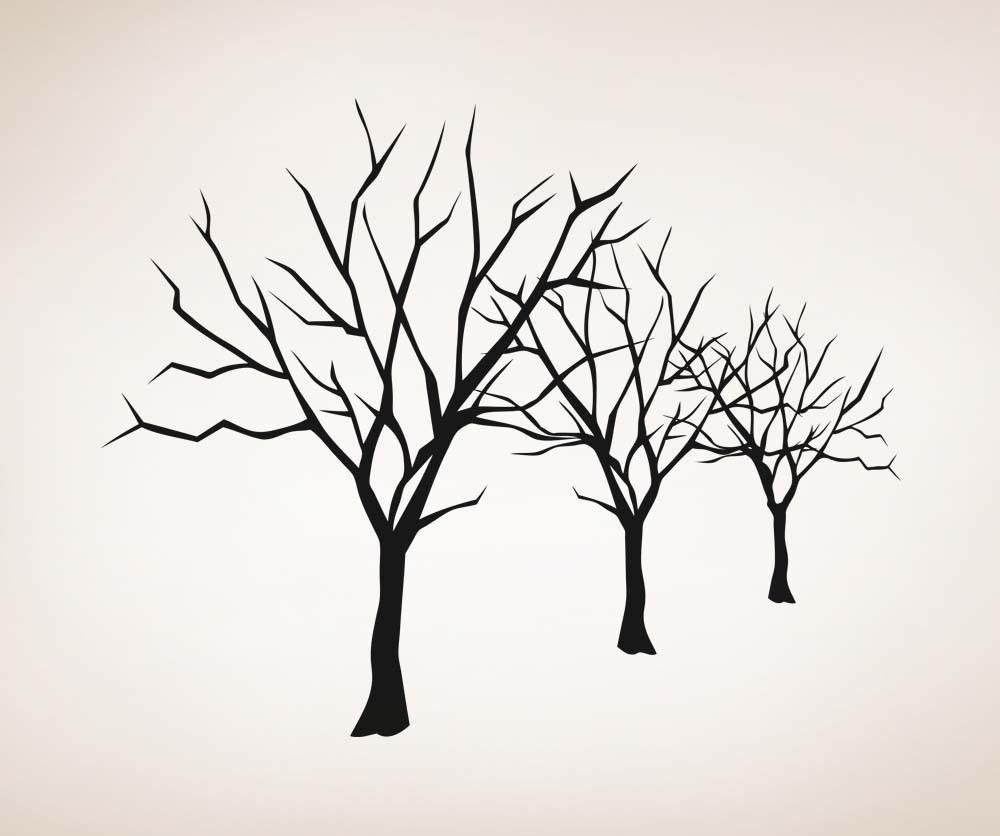 1000x836 Vinyl Wall Decal Sticker Bare Trees Lineup