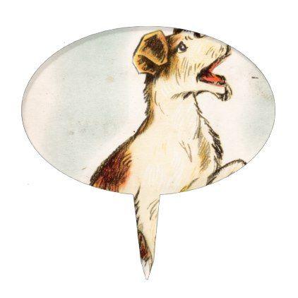 422x422 Vintage Barking Dog Drawing Cake Topper Dog Drawings