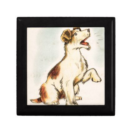 422x422 Vintage Barking Dog Drawing Jewelry Box Dog Drawings