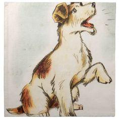 236x236 Vintage Barking Dog Drawing Jigsaw Puzzle