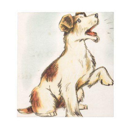 422x422 Vintage Barking Dog Drawing Notepad Drawing Notepad