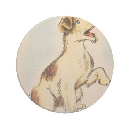 422x422 Vintage Barking Dog Drawing Sandstone Coaster Dog Drawings