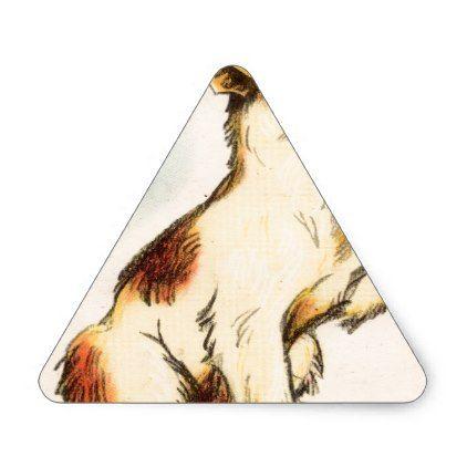 422x422 Vintage Barking Dog Drawing Triangle Sticker