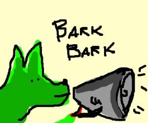 300x250 Green Dog Barking In A Megaphone