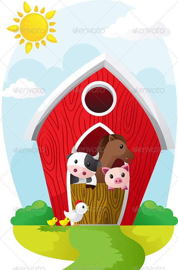 590x896 Animals In Barn Cartoon Cow, House Illustration And Graphics