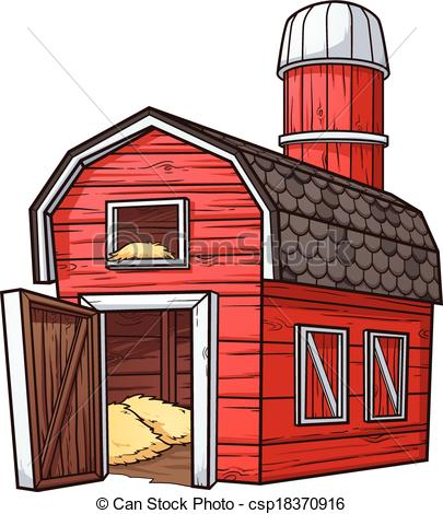 405x470 Red Cartoon Barn. Vector Clip Art Illustration With Simple