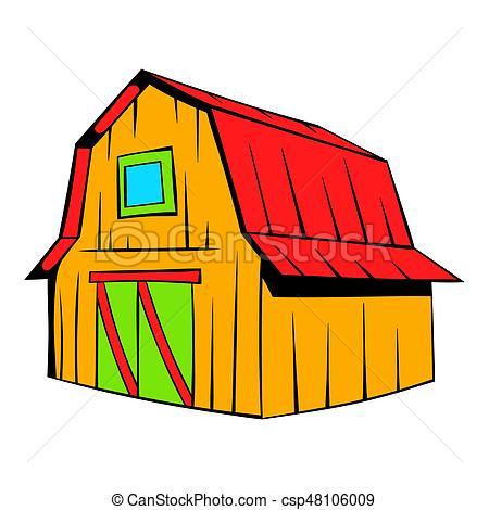 450x470 Wooden Barn Icon Cartoon. Wooden Barn Icon In Cartoon Style
