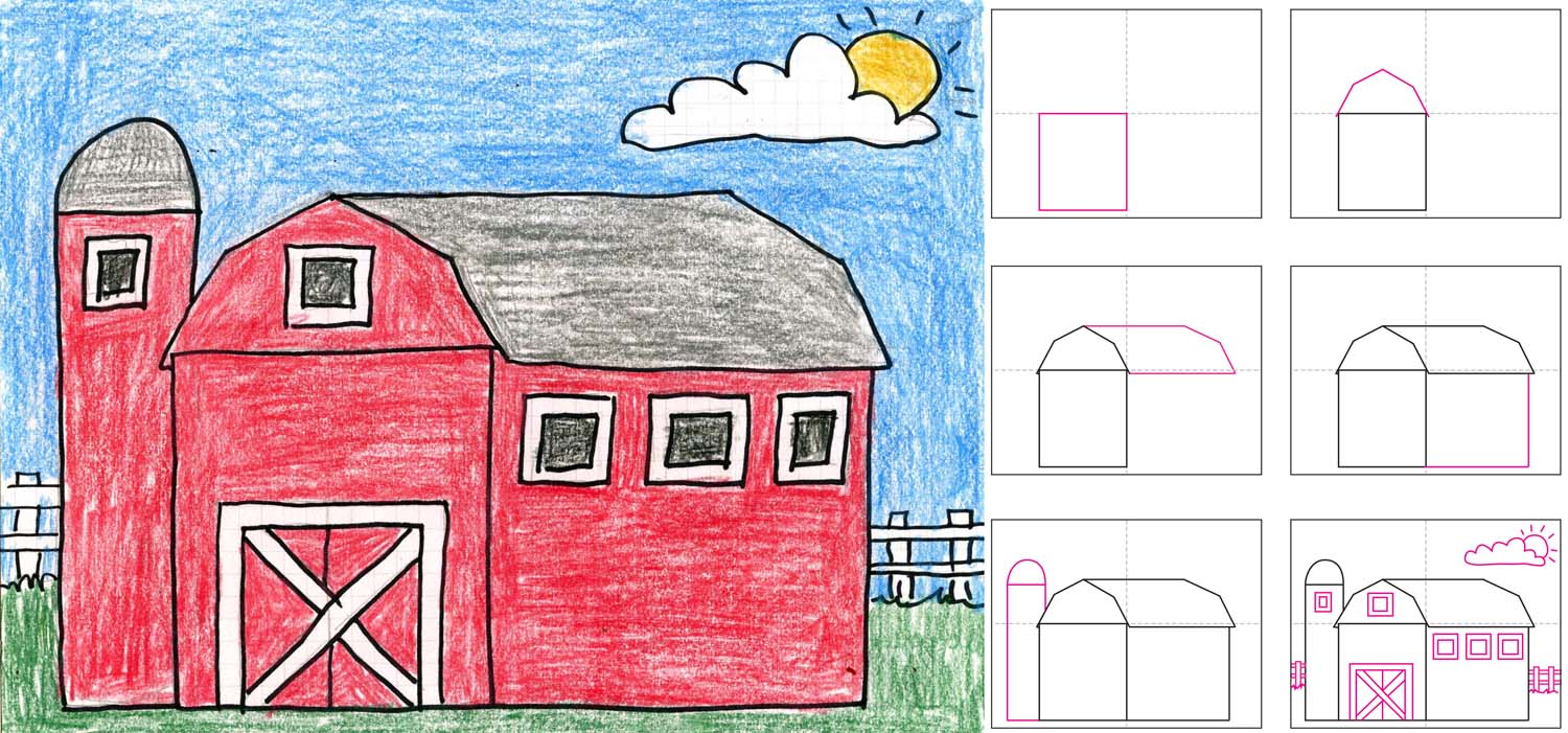 1500x701 How To Draw A Barn Art Projects For Kids How To Draw A Country