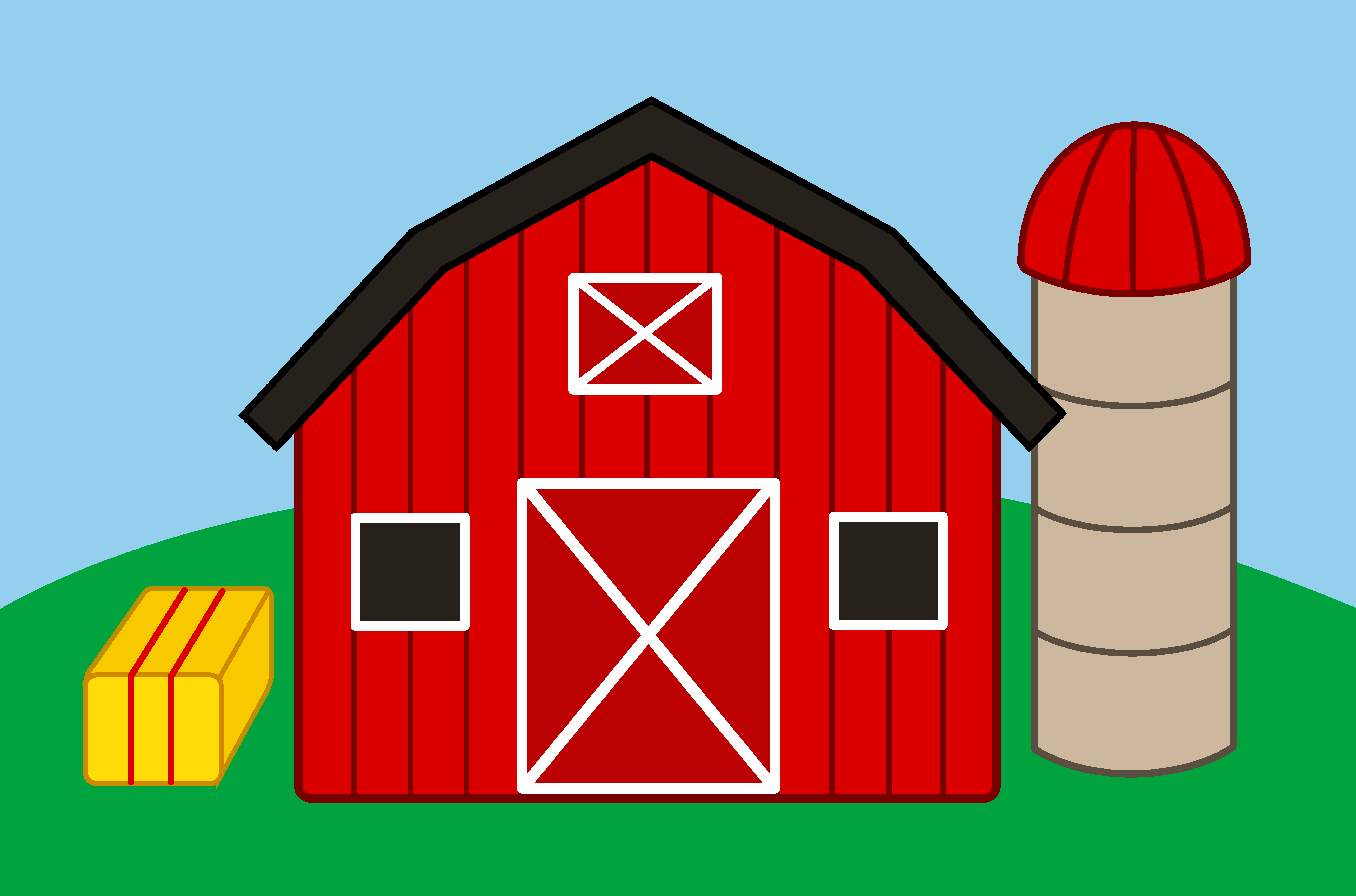 7933x5242 Cute Farm With Barn And Silo