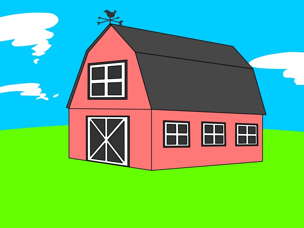 1024x768 How To Draw A Barn How To Draw A Barn 6 Steps With Pictures