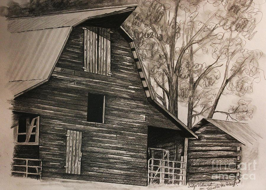 900x641 Neighborhood Barn Drawing By Carolyn Valcourt