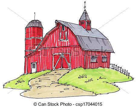 450x355 Old Barn Drawing Clipart