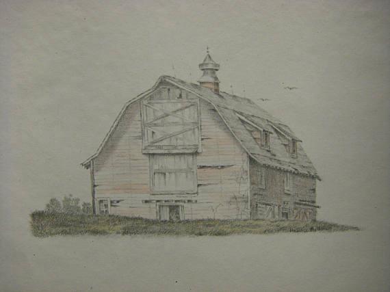 570x427 Original Watercolor Graphite Pencil Landscape Old Barn Drawing