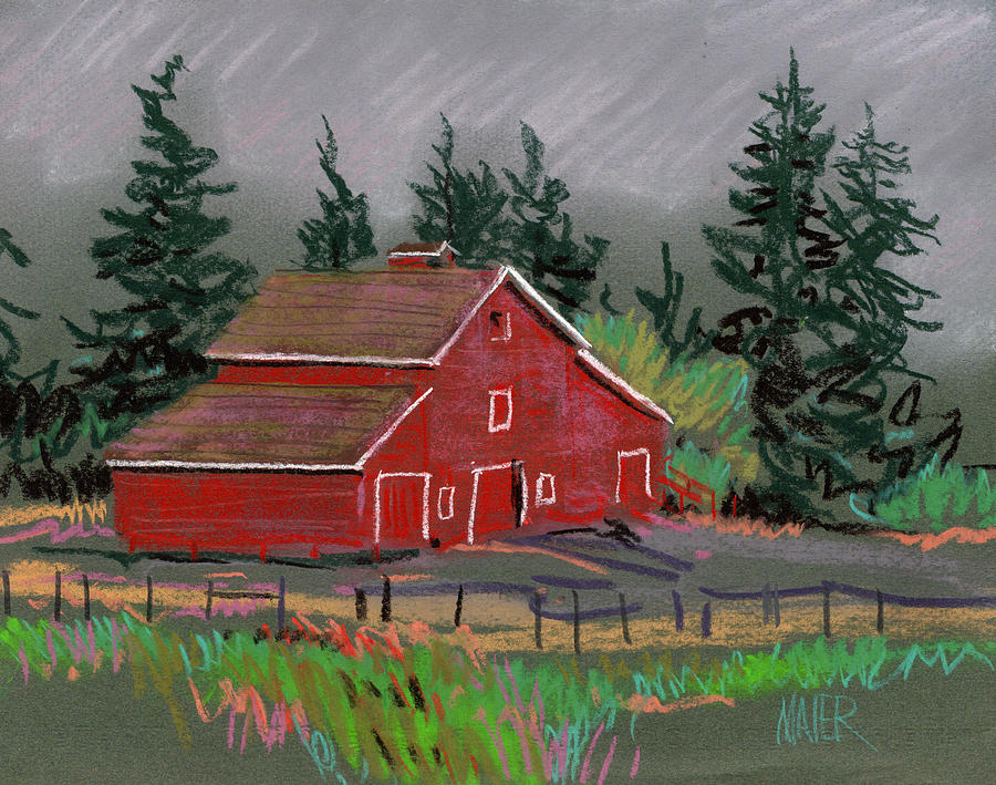 900x709 Red Barn In La Honda Drawing By Donald Maier