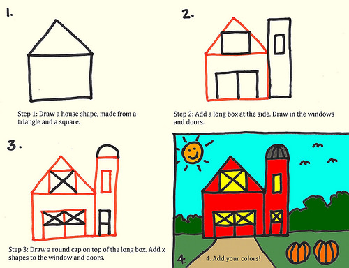 500x384 How To Draw A Red Barn Art For Kids