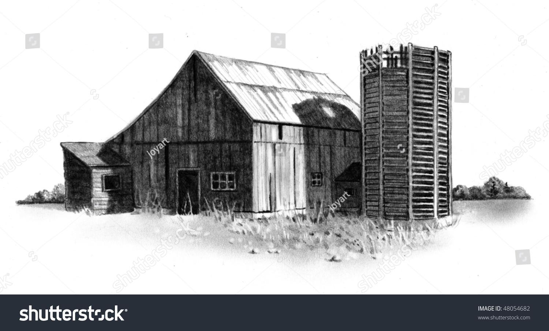 1500x906 Pencil Drawings Of Old Barns Pencil Drawing Old Barn Silo Stock