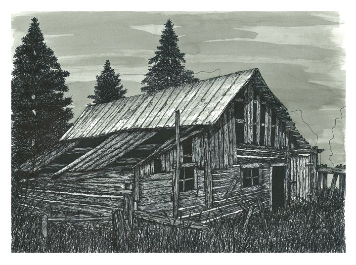 720x536 Rustic Old Barn, Ink Drawing.