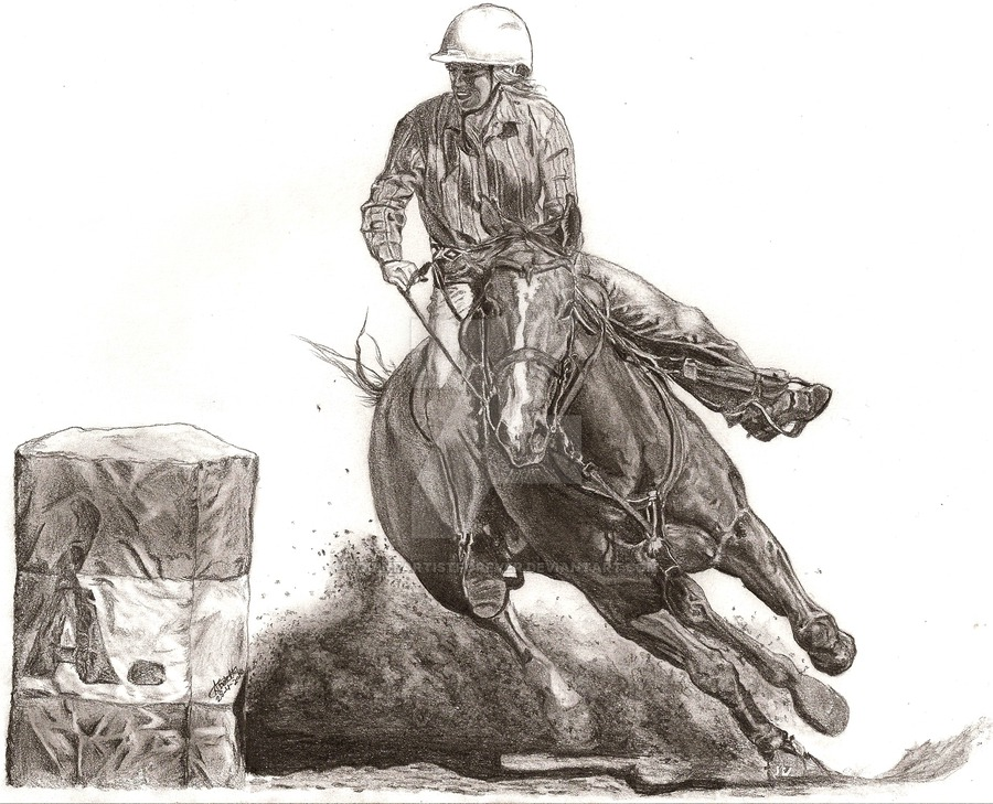 900x729 Jody Barrel Racing By Equineartistforever