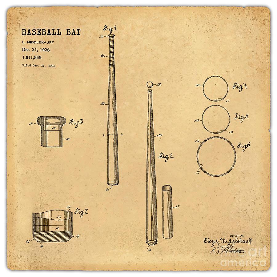 900x900 1926 Baseball Bat Patent Art Middlekauf 1 Digital Art By Nishanth