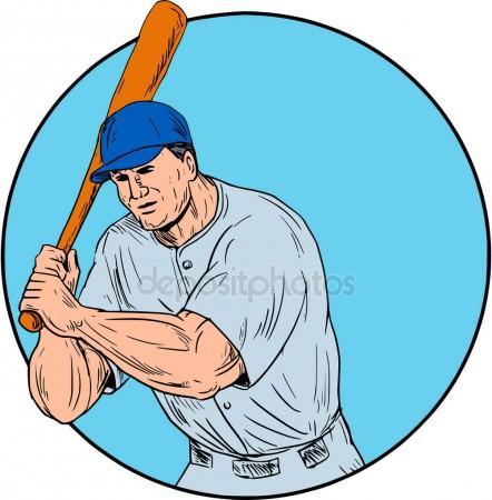 442x450 American Baseball Pitcher Throw Ball Circle Drawing Stock Vector