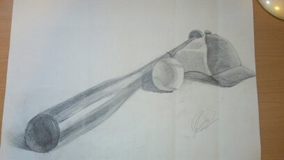 408x230 Baseball Bat, Baseball, And Cap Sketch By Mortalinthemiddle