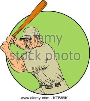 300x337 Baseball Player Batting Stance Circle Cartoon Stock Vector Art