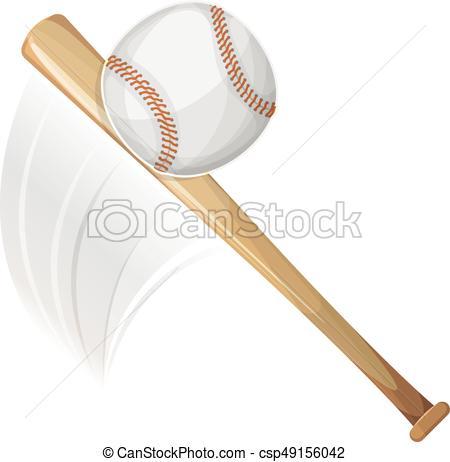 450x462 Baseball Bat Hitting Ball. Illustration Of An American Eps