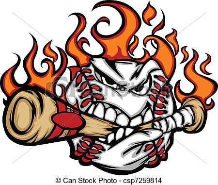 450x381 Baseball Flaming Face Biting Bat Flaming Baseball Ball Eps