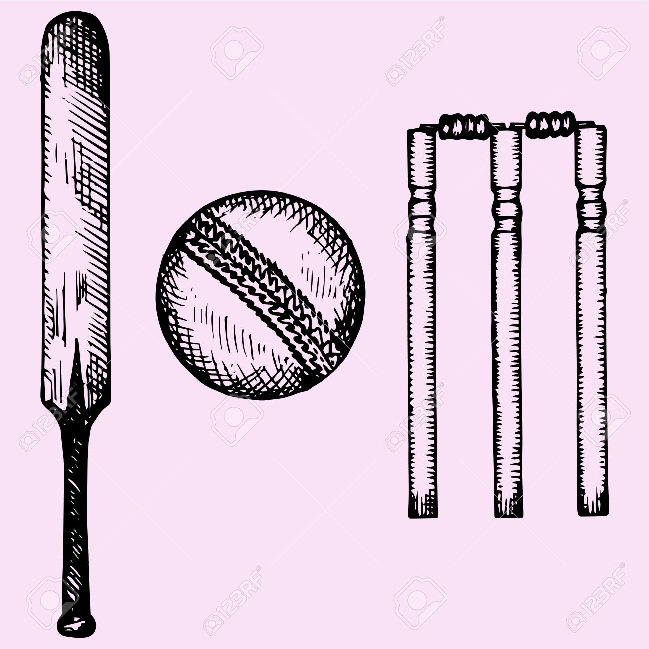 1300x1300 Set Of Equipment For Cricket Bat, Ball, Wicket, Doodle Style