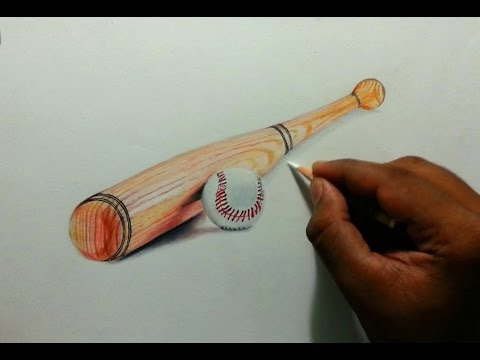 480x360 Drawing Baseball Bat And Ball! Realism Using Colored Pencils