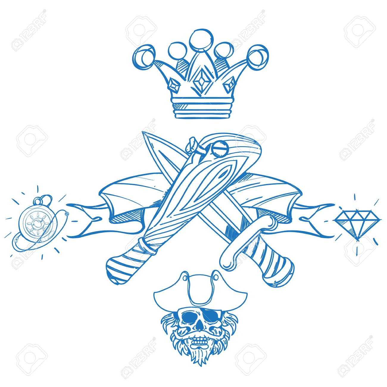 1300x1300 Sketch Of Tattoo With A Crown And A Baseball Bat. Outline