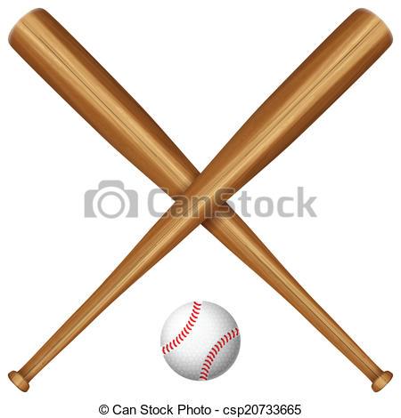 450x470 Wooden Baseball Bat And Ball. Baseball Bats And Ball On A Clip