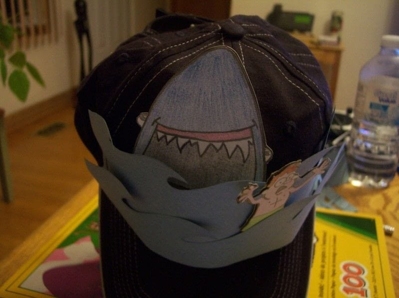 800x599 Crazy Hat Day Shark Scene A Baseball Cap Drawing On Cut Out +
