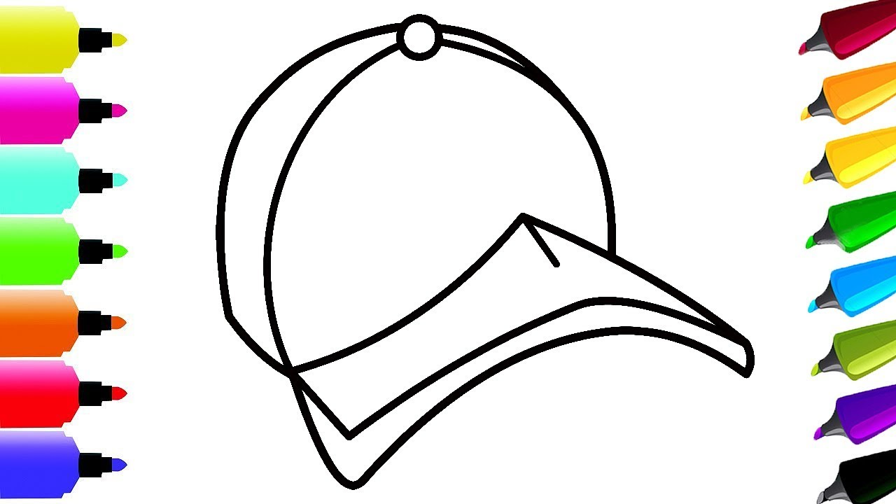 1280x720 Draw Baseball Cap And Coloring Page Drawing And Coloring