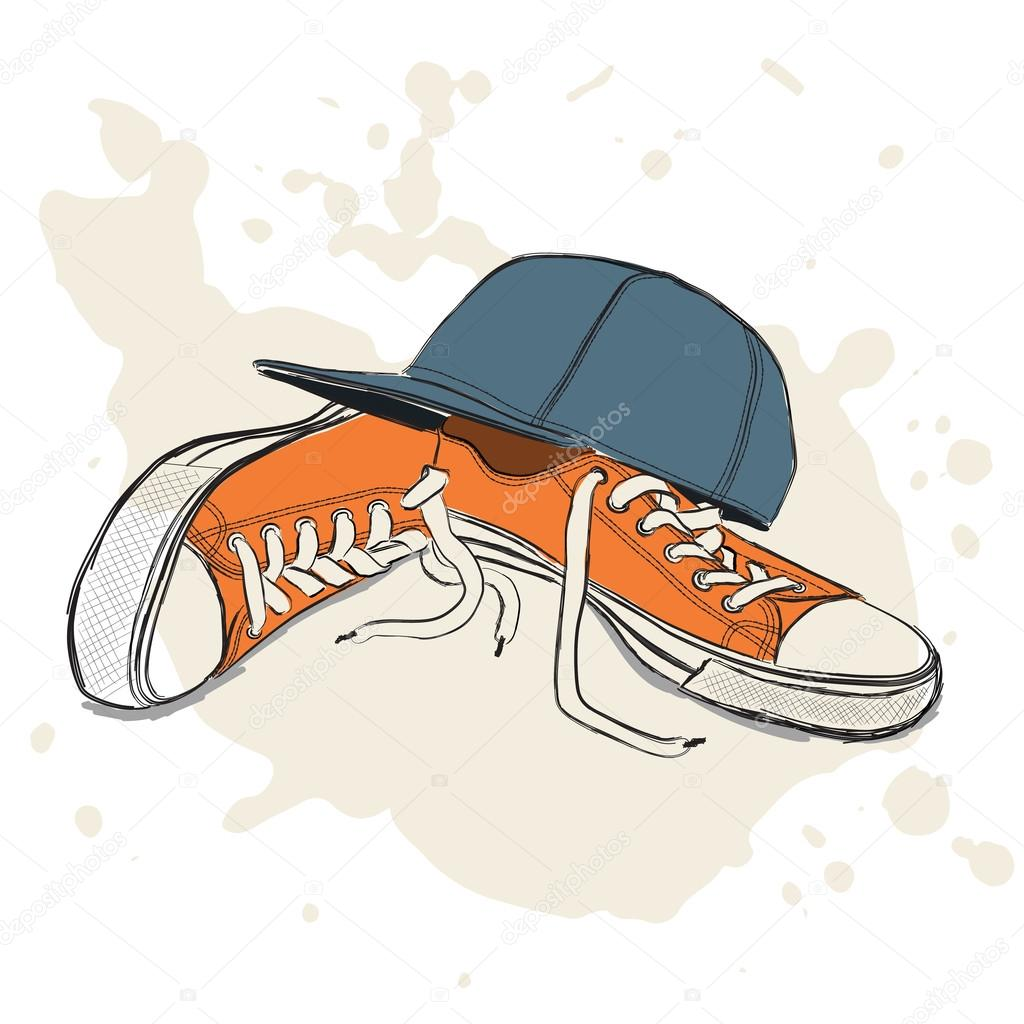 1024x1024 Drawing Vector Illustration With Sneakers And Baseball Cap Stock