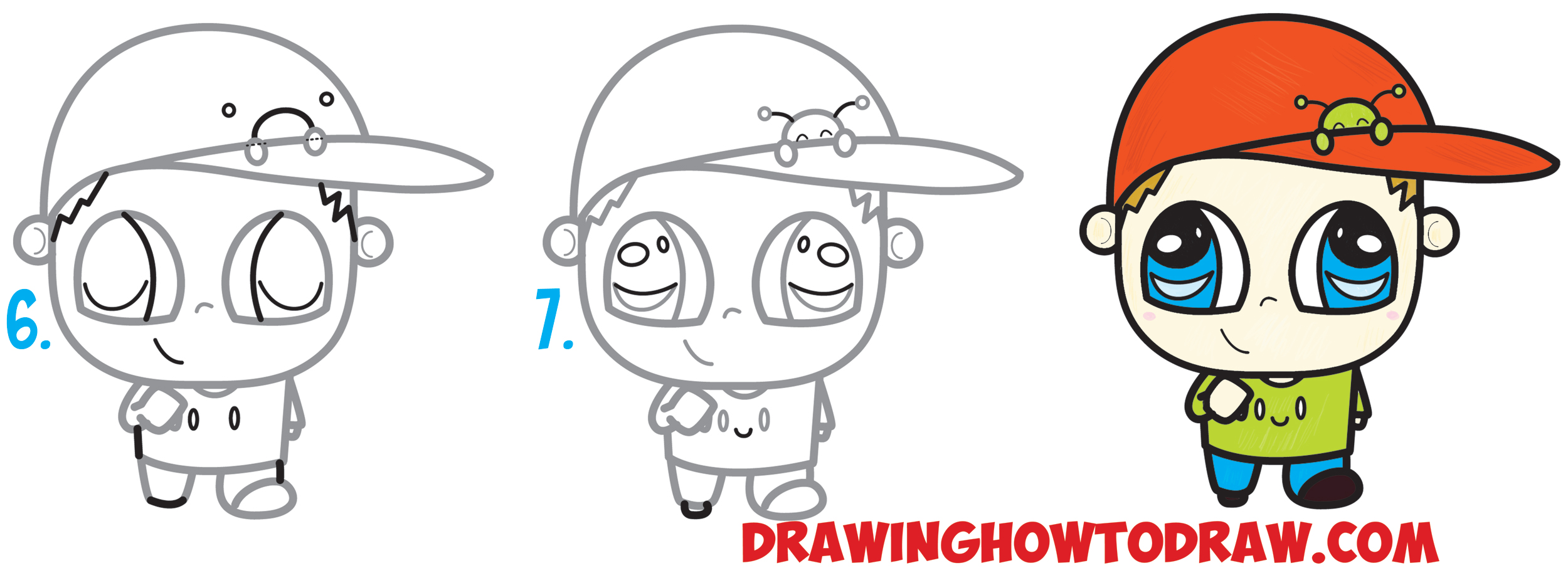 2500x914 How To Draw A Chibi Boy With A Cute Bug On His Baseball Hat Easy