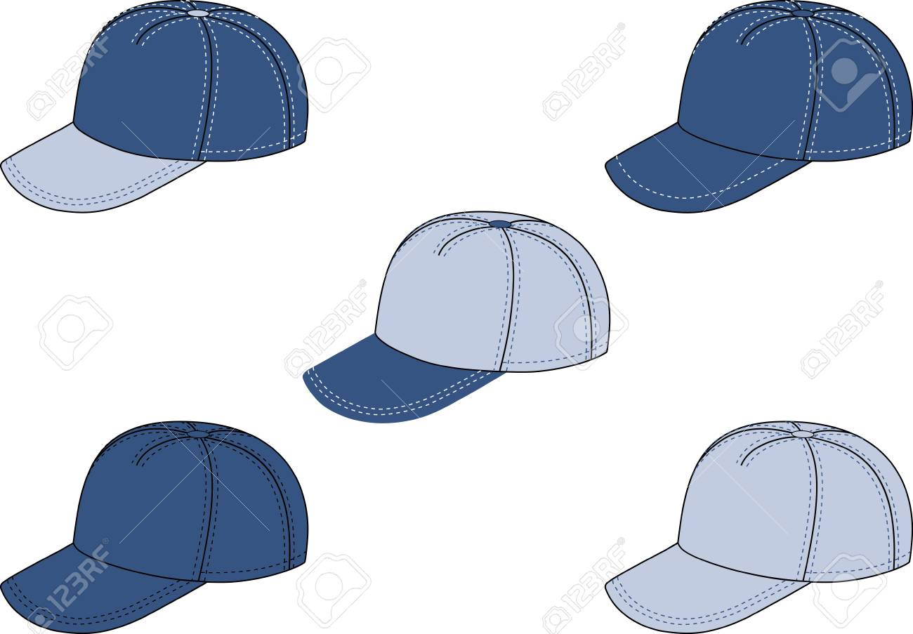 1300x903 Vector Drawing Of A Baseball Cap In Five Colour Variants. Royalty