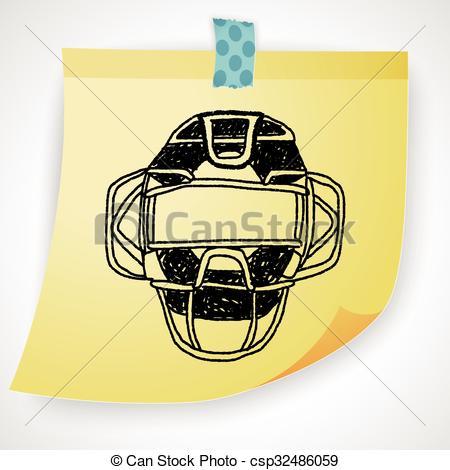 450x470 Baseball Catcher Doodle Clipart Vector