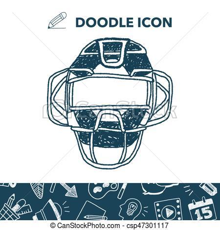 450x470 Baseball Catcher Doodle Vector Clip Art