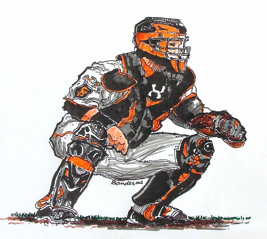 900x805 Baseball Catcher Drawing