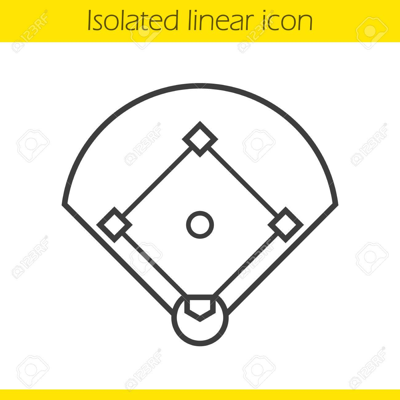 1300x1300 Baseball Field Linear Icon. Sport Game Field Thin Line