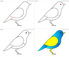 236x194 How To Draw A Bird, Step By Step. (Click To Enlarge, Then Shrink
