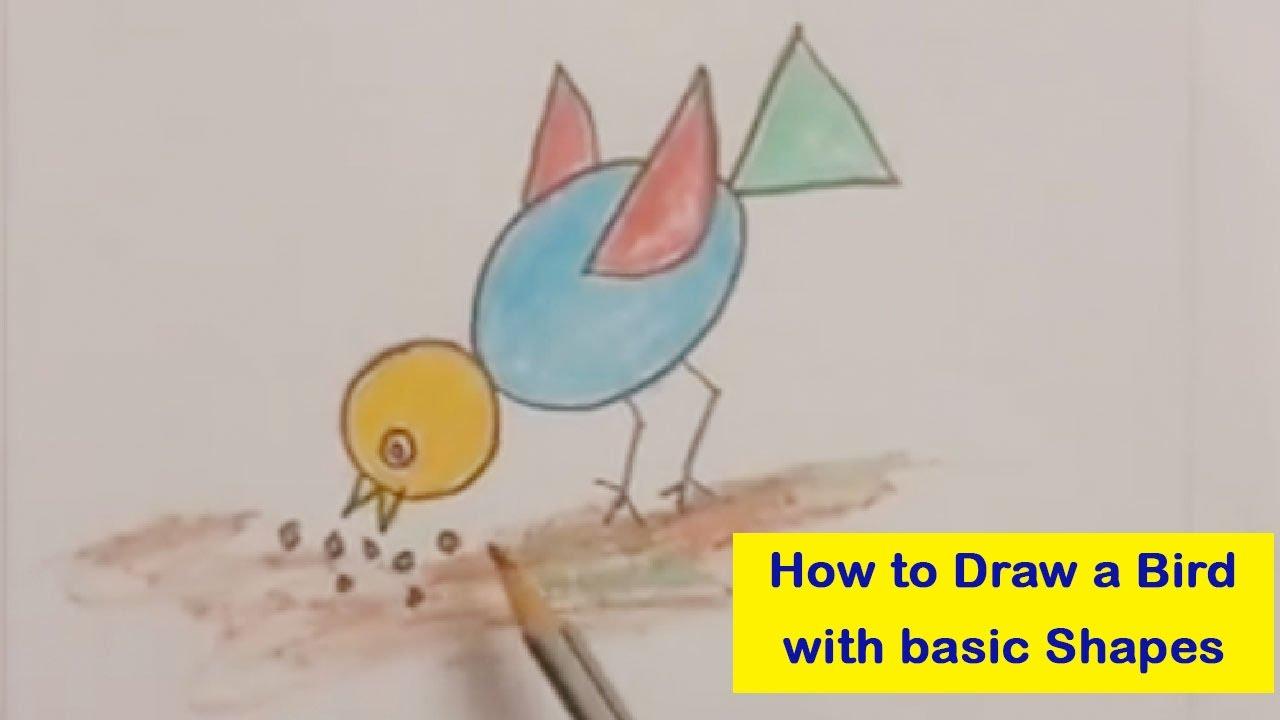 1280x720 How To Draw A Bird Using Basic Shapes I How To Draw Chidiya