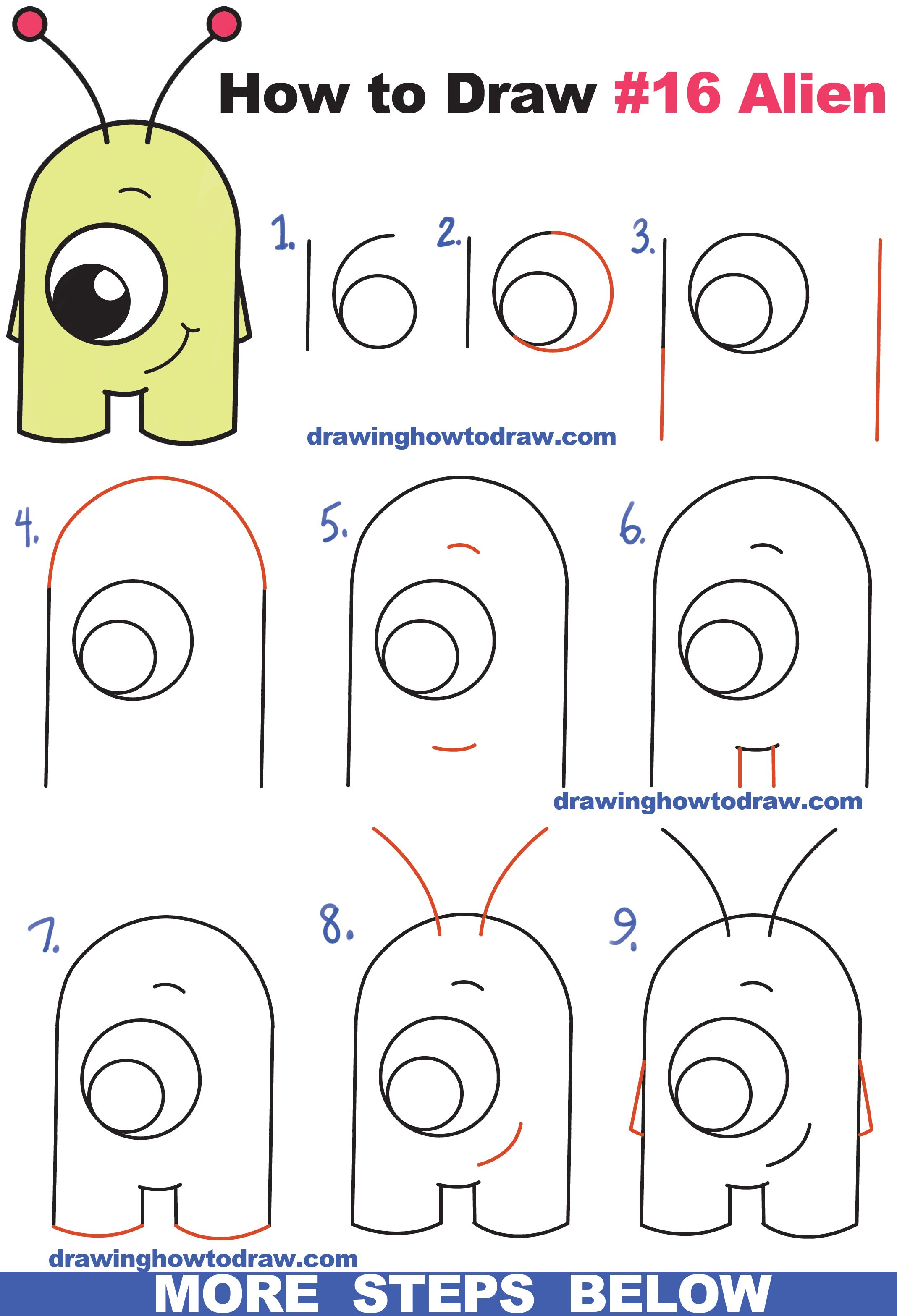 2136x3135 How To Draw Cute Cartoon Alien From Numbers 16 Easy Step By Step