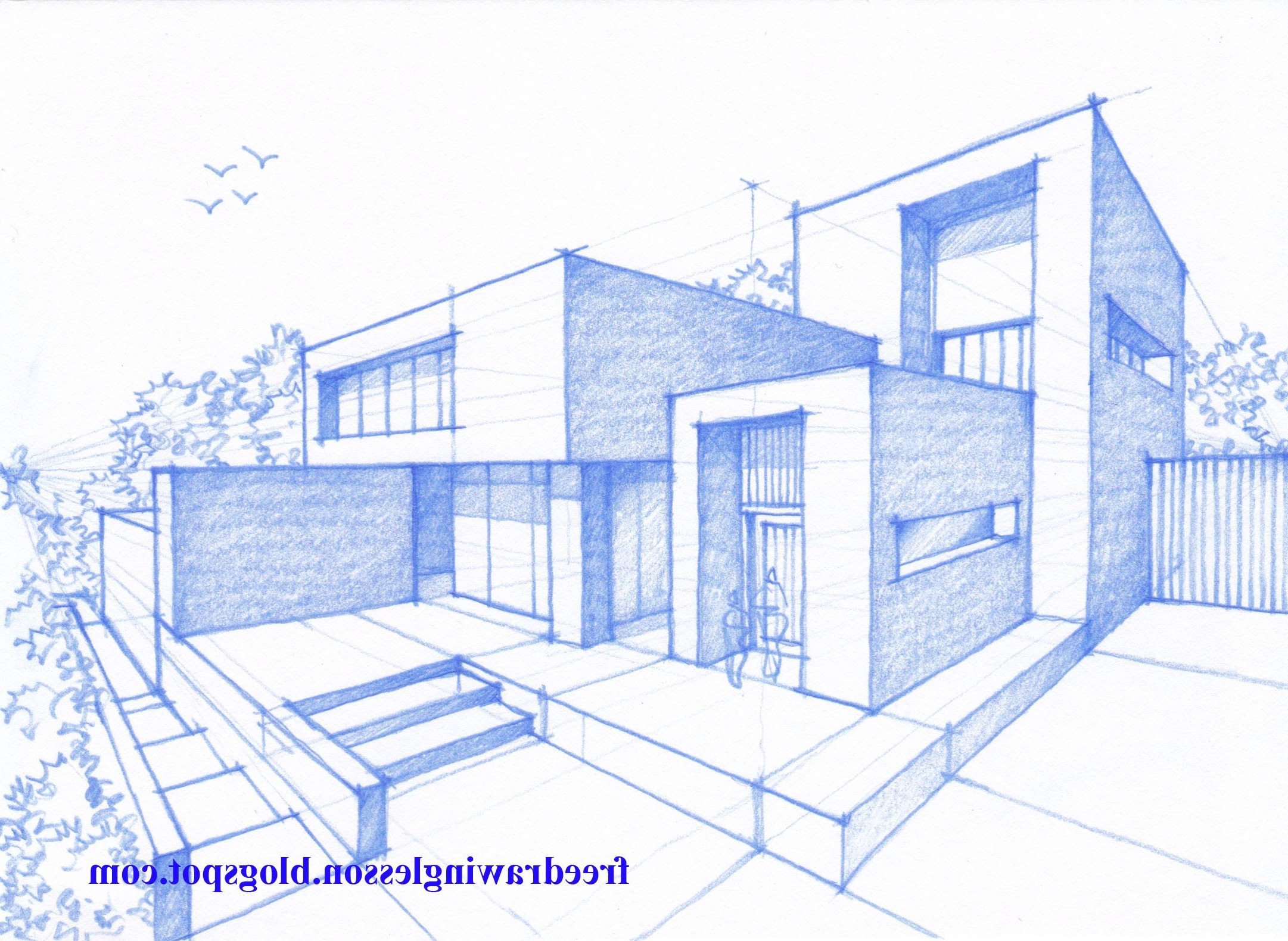 2162x1580 3D House Drawing Pencil Easy House Drawings Modern Basic Simple
