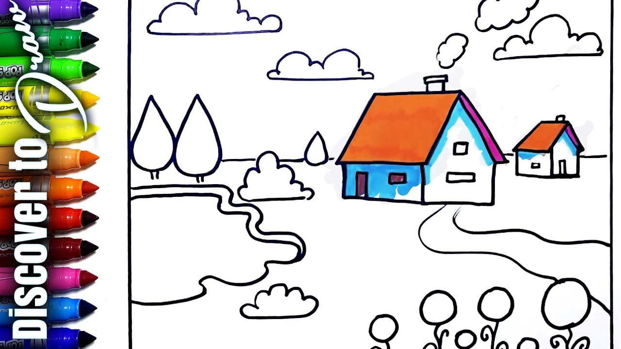 1280x720 Simple Scenery Drawing Of Cute House And Pond Basic Landscapes