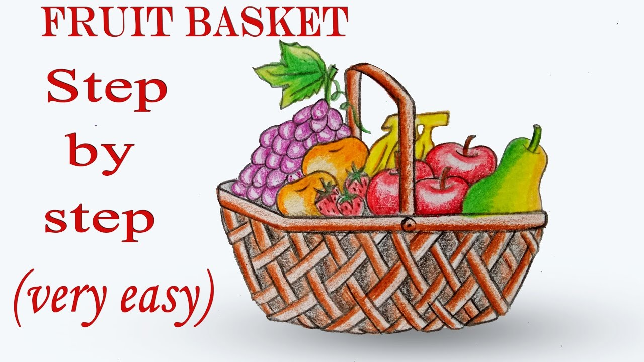 1280x720 How To Draw Fruit Basket Step By Step (Very Easy)