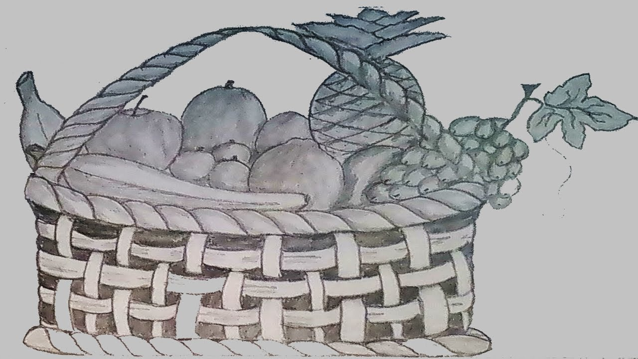 1280x720 How To Draw Fruit Basket Step By Step (Pencil Sketch