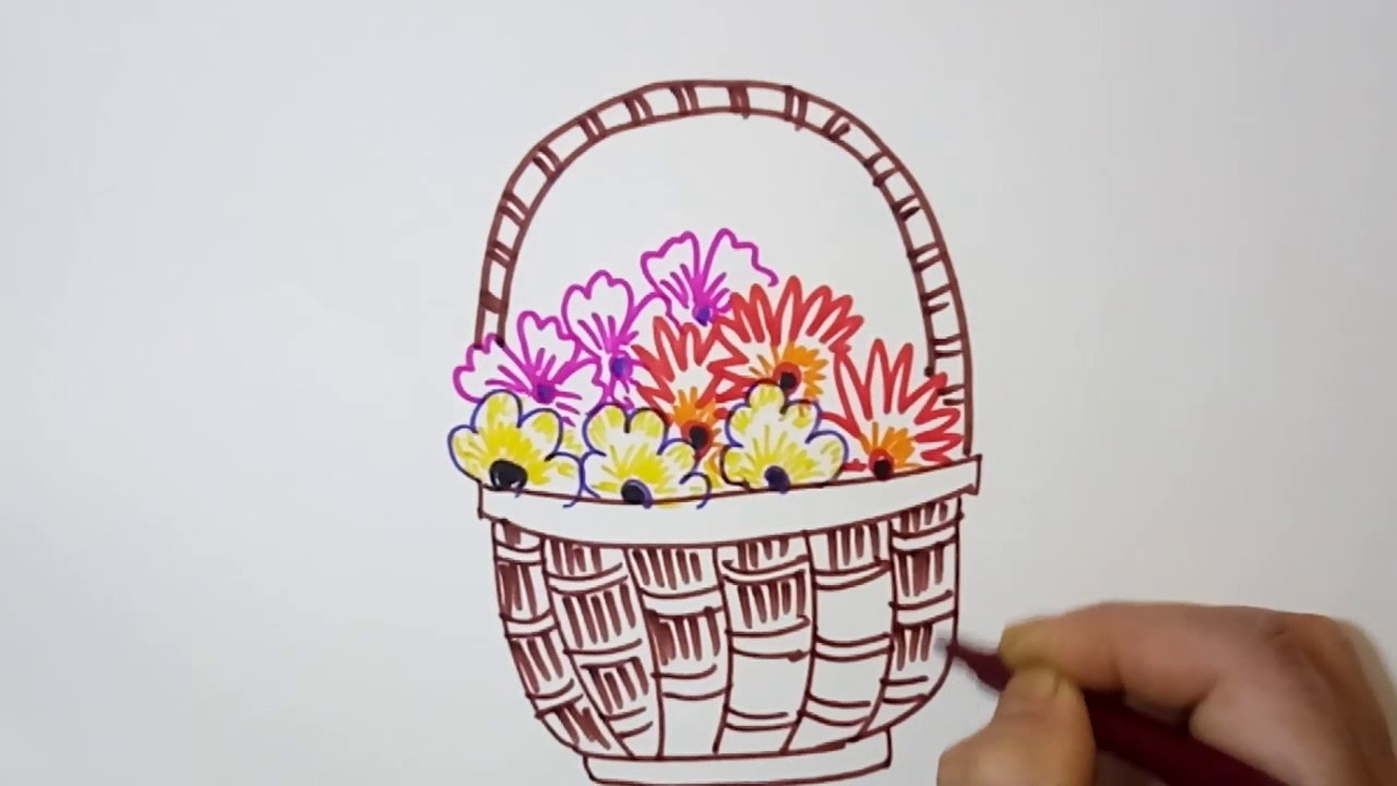 1280x720 Basket Of Flower Drawings Easy Flower Basket How To Draw A Flower